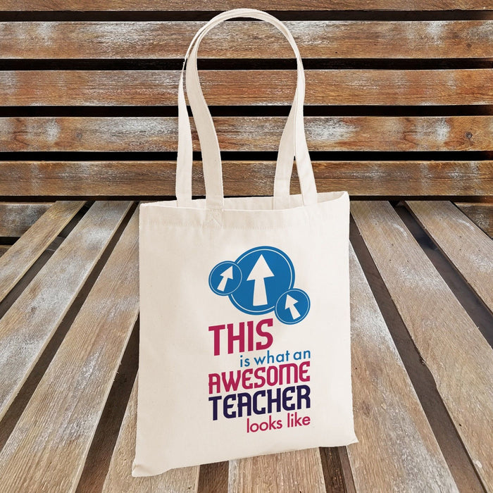 This is What an Awesome Teacher Looks Like Tote Bag - Teacher's Gift - Blue