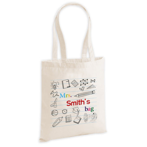 Personalised Teacher Over Shoulder Tote Bag End Of Year Leaving Present Gift