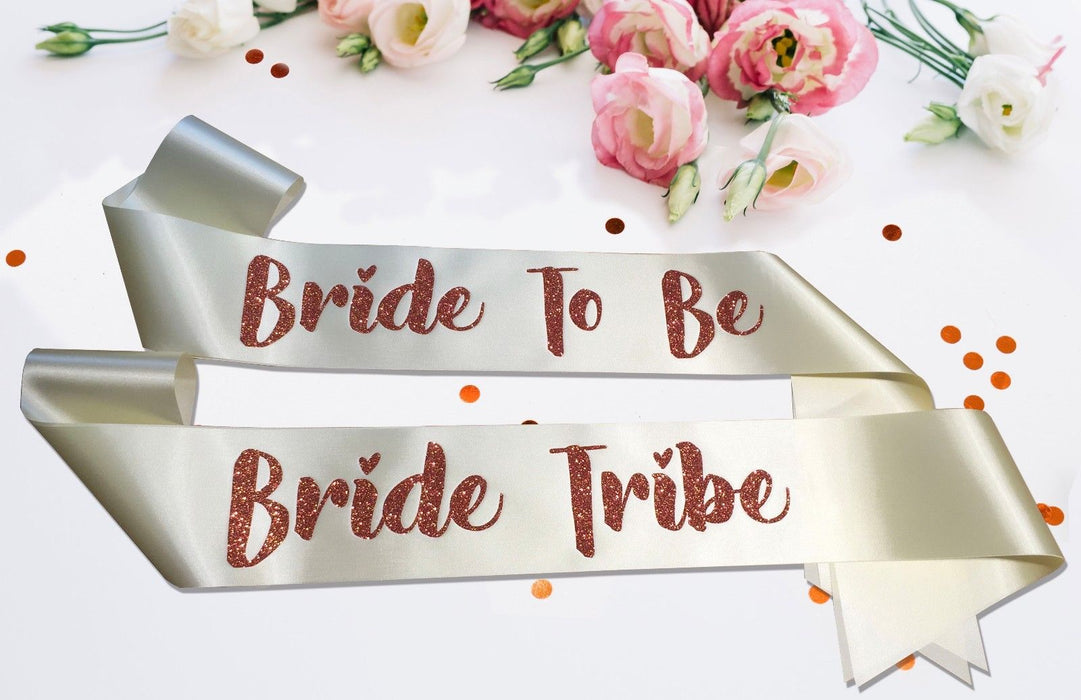 Bride Tribe Premium Sash Hen Do Marriage Engagement Party Night Out Glitter Font