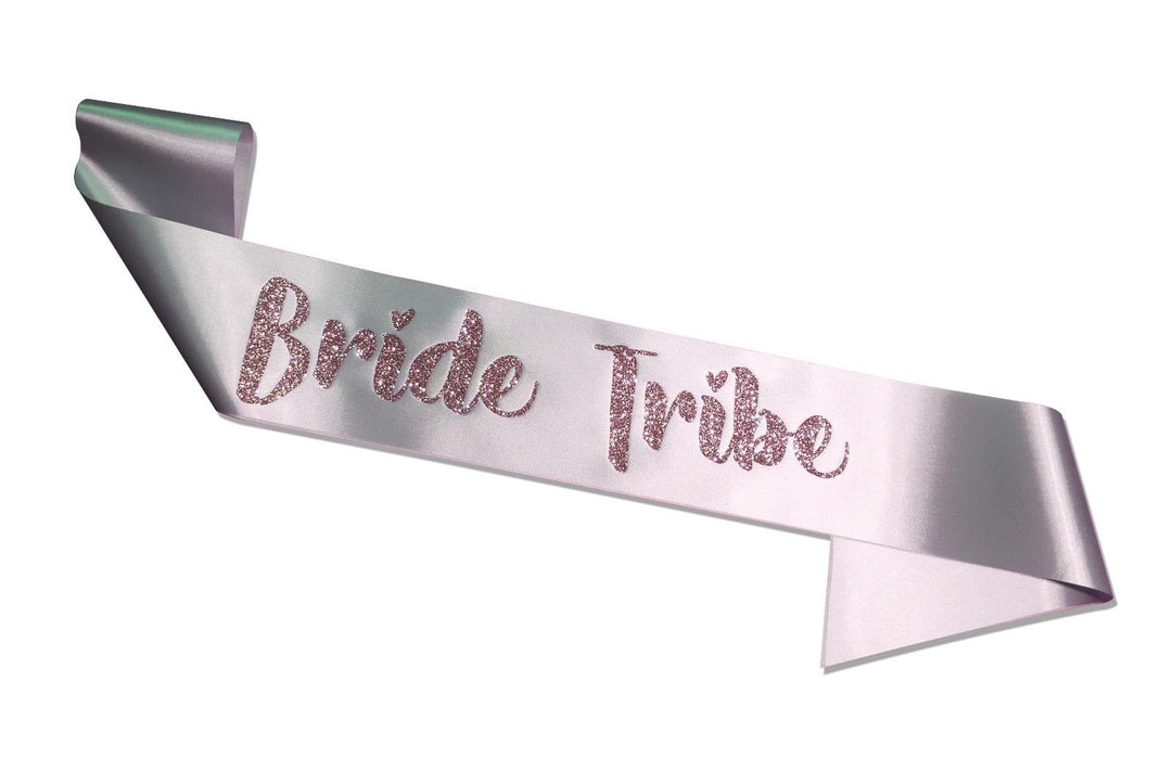 Premium Bride Tribe Satin Married Engagement Party Sash Hen Do Blush Pink Silver