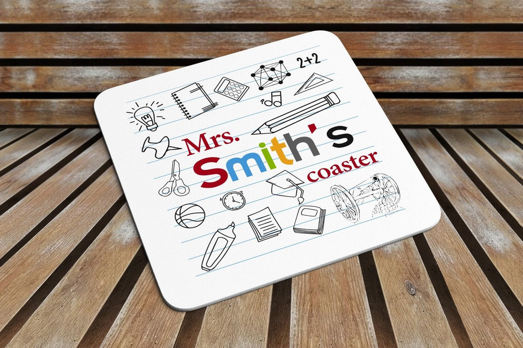 Personalised Teacher Coaster Leaving Present End Of Year Gift For Mug Coffee Cup