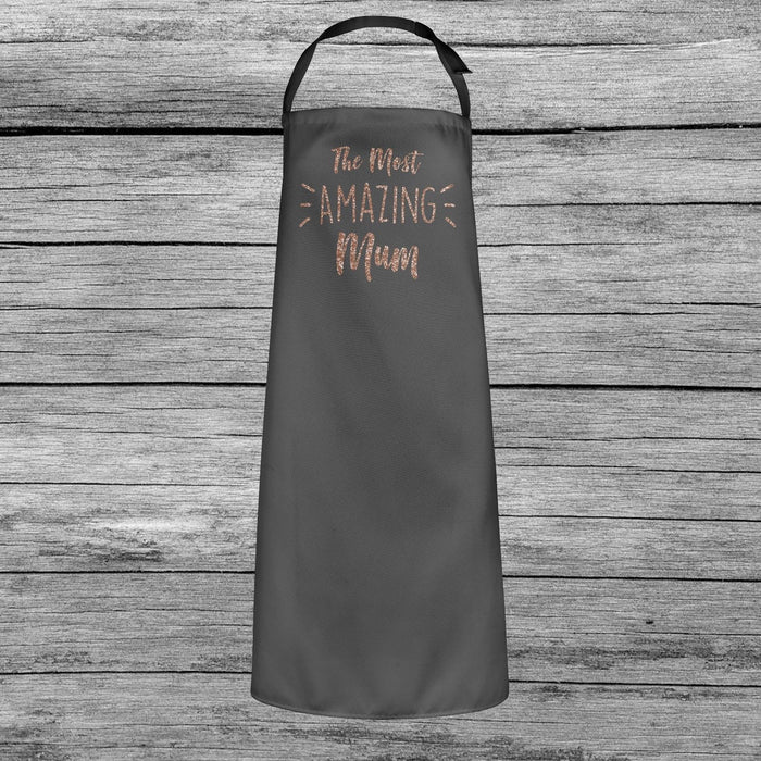The Most Amazing Mum Mothers Day Baking Cooking Apron Rose Gold Glitter Gift
