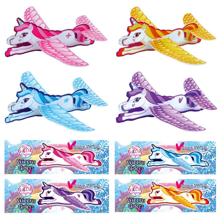 Unicorn Glider Planes Girls Party / Loot Bags Filler Flying Present Toy Prizes