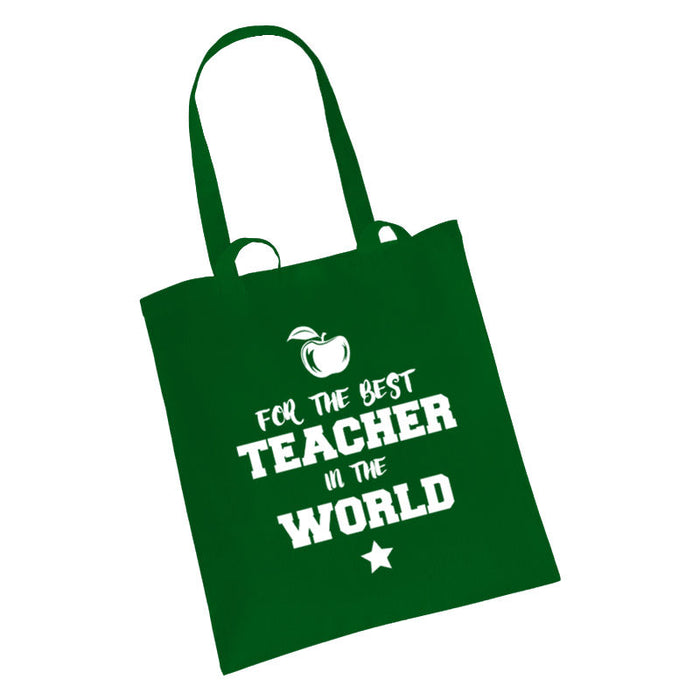 """For the best Teacher in the World"" Teacher End of Year Gift Tote Bag"