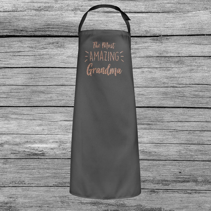 The Most Amazing Grandma Mothers Day Baking Cooking Apron Rose Gold Glitter Gift