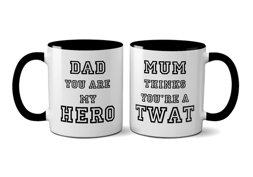 "Funny Novelty Father's Day Ceramic Mug ""Mum Thinks You're A Twat"" Swearing Cup"