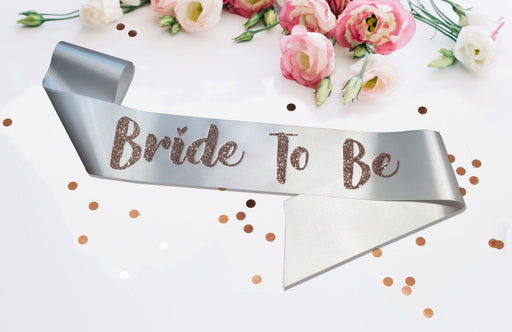 Premium Bride To Be Satin Married Engagement Party Sash Hen Do White Rose Gold