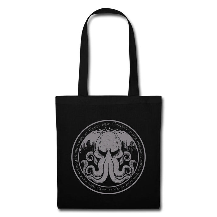""" In His House At R'yleh...  "" Cthulhu Lovecraft Inspired Book Tote Bag"