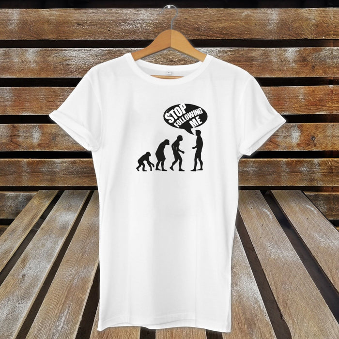 Stop Following Me Nerdy Novelty Charles Darwin Evolution T-Shirt / Top - White