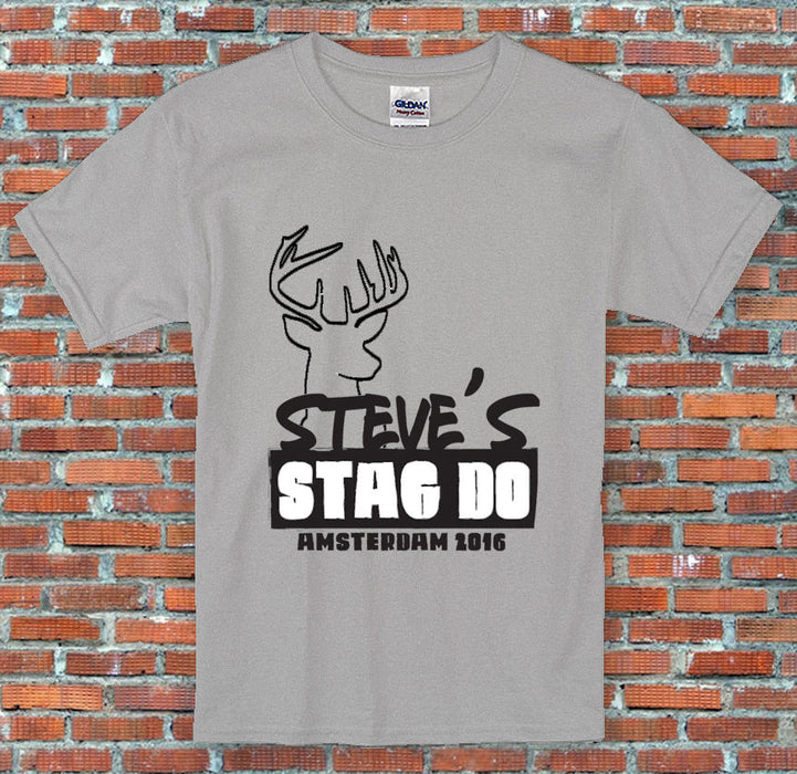 Stag Do Outline Personalised Text Funny High Quality Sports Grey T Shirt S-2XL