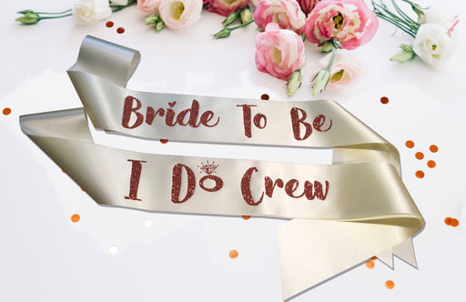 Premium I Do Crew Satin Married Engagement Party Sash Hen Do Copper Champagne