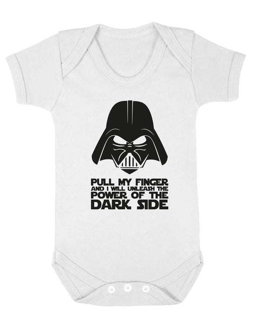 """Pull My Finger and You Will Unleash The Power"" Funny Witty White BabyGrow"