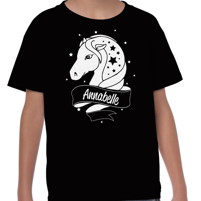 [ Kids ] Personalised Horse White Glitter T-shirt Choose Your Name and Colour