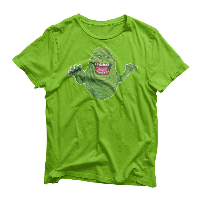 Ghostbusters 80's Movie Classic TV Series Slimer Ghost T-Shirt Halloween Top