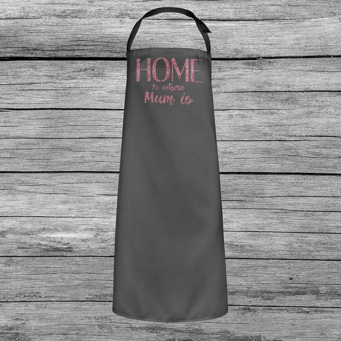 Home is where Mum is Mothers Day Cooking Apron Dusky Pink Glitter Printed Gift