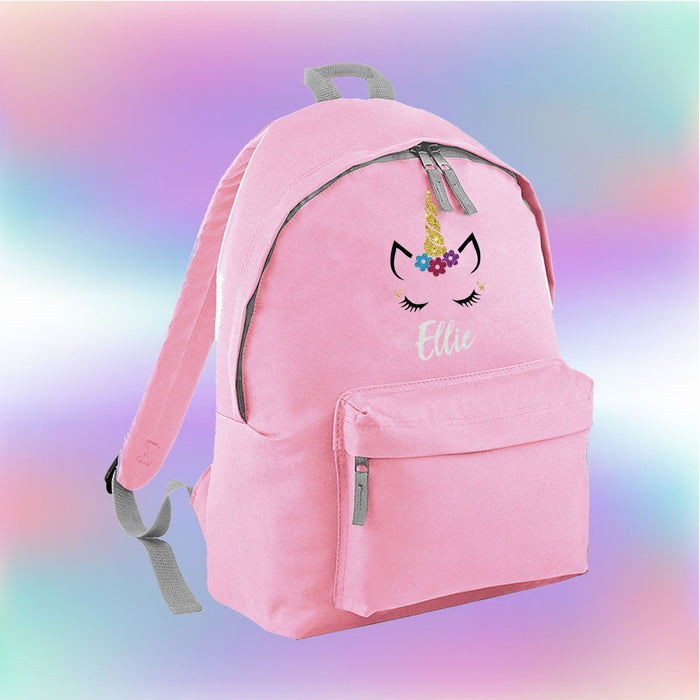 Personalised Glitter Unicorn Face Backpack - Cute Adorable - Kids Girls