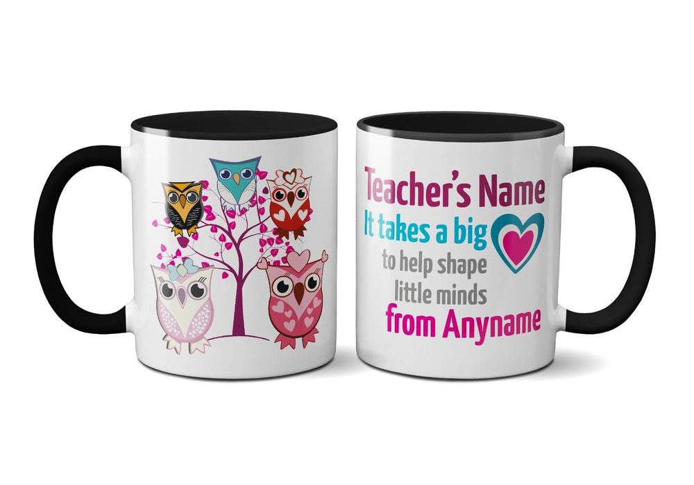 It Takes A Big Heart Cute Owl Tree Personalised School Year Teacher Leaving Mug