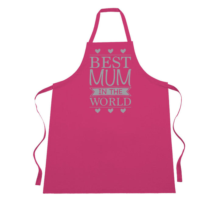 Silver Glitter Printed Pink Best Mum in the World Mother's Day Apron Present