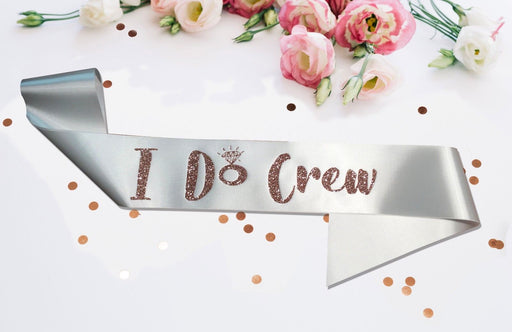 Premium I Do Crew Satin Married Engagement Party Sash Hen Do Rose Gold White