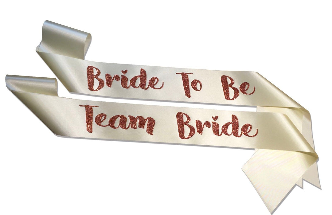 Premium Team Bride Satin Married Engagement Party Sash Hen Do Copper Champagne