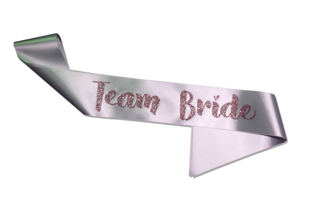 Premium Team Bride Satin Married Engagement Party Sash Hen Do - Pink / Silver