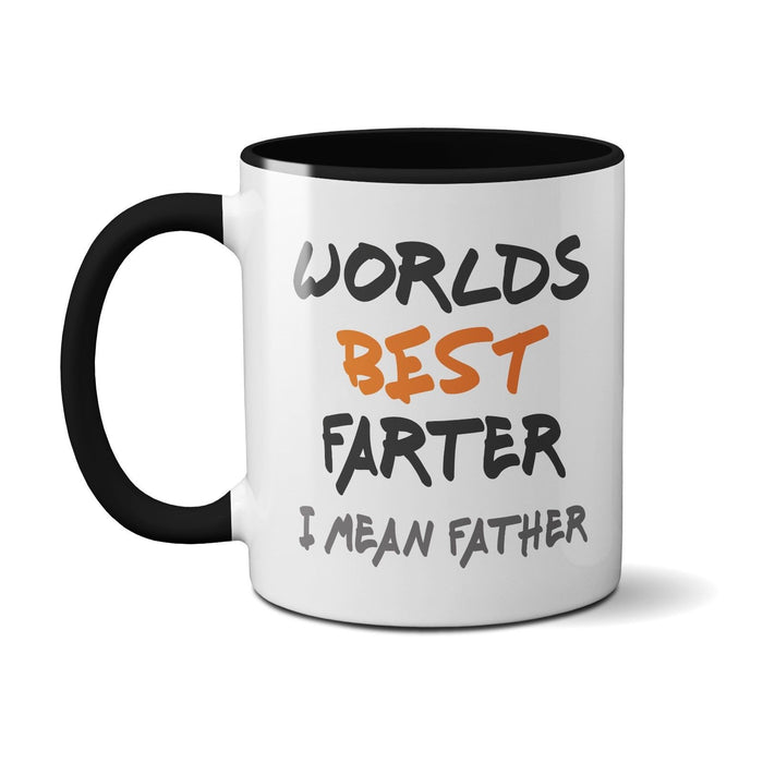 World's Best Farter I Mean Father (Orange) Novelty Funny Mug Dad's Gift Present