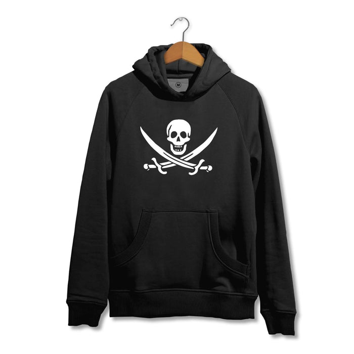 Jolly Roger Pirate Skull Hoodie - Funny Novelty - Black Flag
