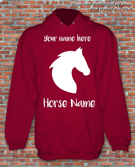 Horse Riding Hoodie Personalised Gift Present Choose Your Own Names S-2XL