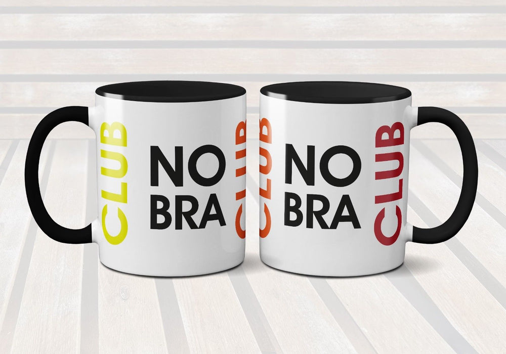 No Bra Club Mug - Coffee Tea Milk - Cup Present Gift - Funny Novelty Hilarious