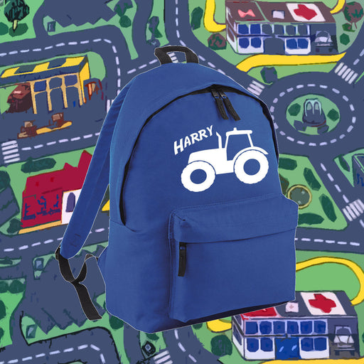 Personalised Tractor Backpack - Kids Boys Bag School Present Gift Birthday