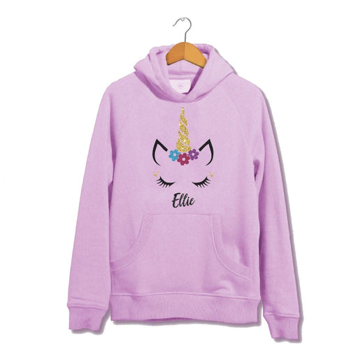 Personalised Glitter Unicorn Face Hoodie - Cute Adorable - Kids Girls