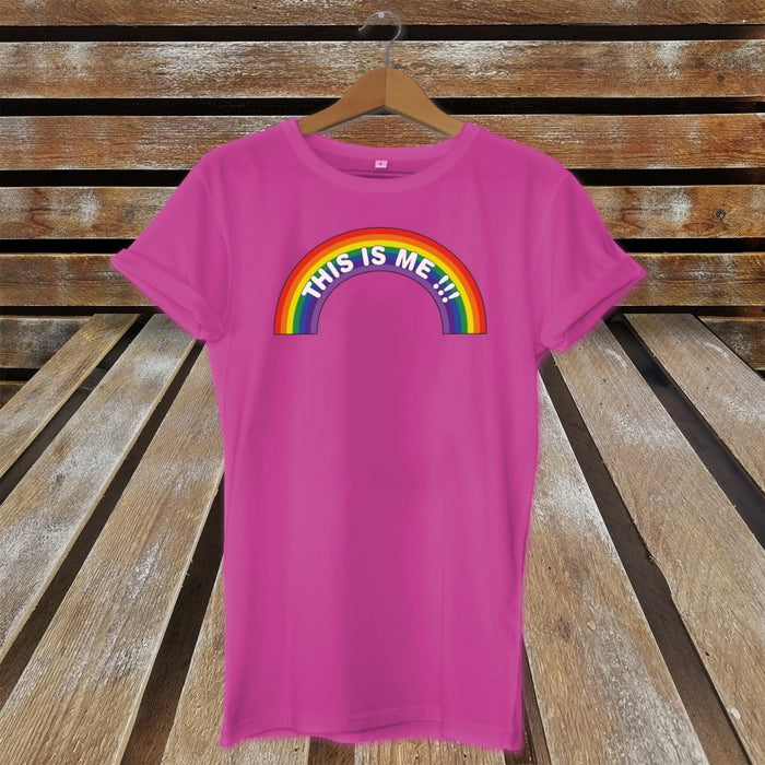 LGBT Pride T-Shirt This Is Me Rainbow  Festival Gay Lesbian Bisexual Transgender