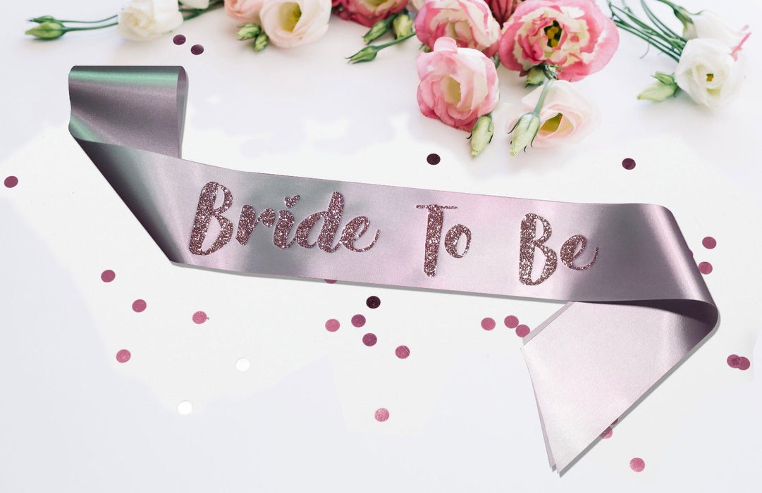 Premium Bride To Be Satin Married Engagement Party Sash Hen Do Blush Pink Silver