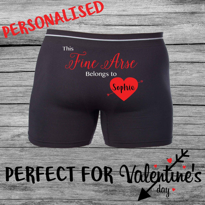Valentines Day Fine Arse Gift Mens Personalised Printed Boxers funny Shorts