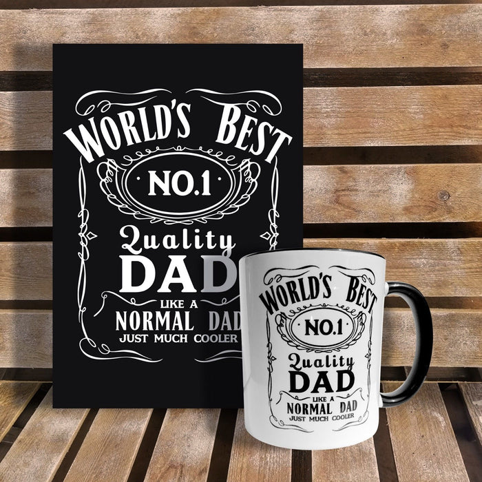 World's Best Number 1 Cool Dad T-Shirt Jack Daniels Inspired Fathers Day Present