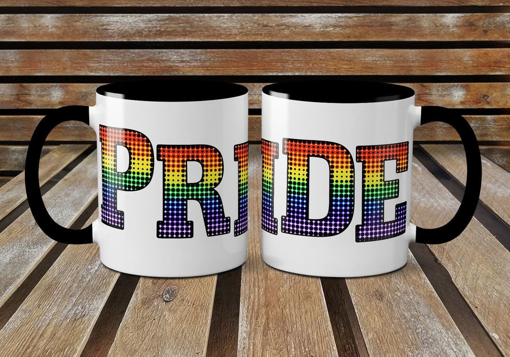 Pride Paillette Inspired Halftone Printed Mug - Rainbow Coloured - Gay Pride
