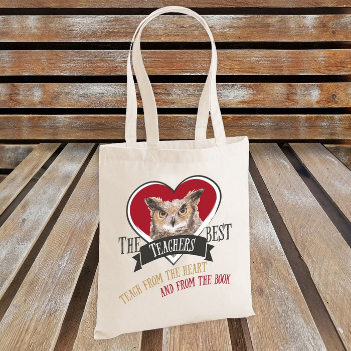 The Best Teachers Teach From the Heart and From The Book (RED HEART) Tote Bag