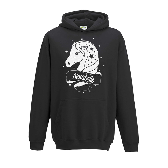 [ Kids ] Personalised Horse White Glitter Hoodie Choose Your Name and Colour