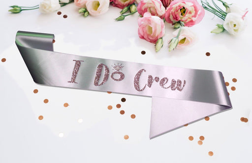 Premium I Do Crew Satin Married Engagement Party Sash Hen Do Blush Pink Silver