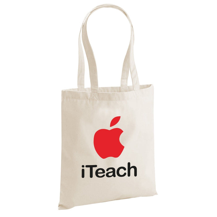 iTeach Cute Novelty Apple Inspired Over Shoulder Tote Bag Teacher Leaving Gift