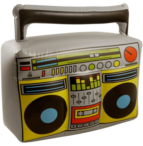 Inflatable Blow Up Novelty Boom Box Ghetto Blaster 1980 Party Fancy Dress Pool