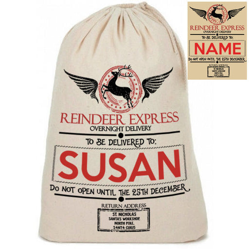 "Personalised Cotton Linen "" Reindeer Express "" Santa Christmas Present Sack"