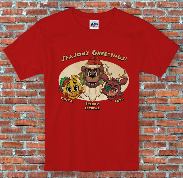 Freddy's Five Nights Christmas Vintage Chica Foxy Holiday FNAF T Shirt S-2XL