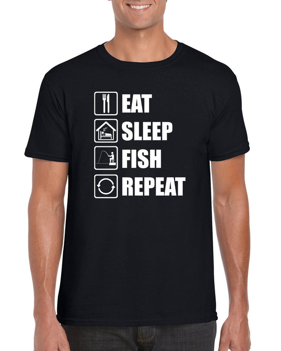 """Eat Sleep Fish Repeat"" Funny Fishing T-shirt"