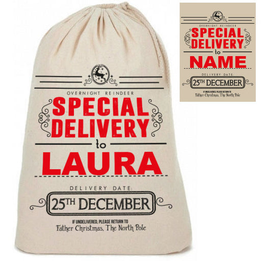 "Personalised Cotton ""Special Delivery"" Santa Christmas Present Sacks Sack"