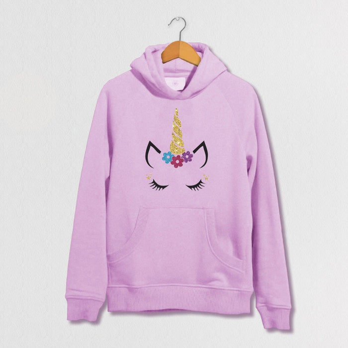 Glitter Unicorn Face Hoodie - - Kids & Adults - Funny - Cute Glitter Sparkling