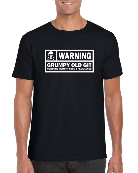"""Warning. Grumpy Old Git "" Funny Slogan  Quote T-shirt"