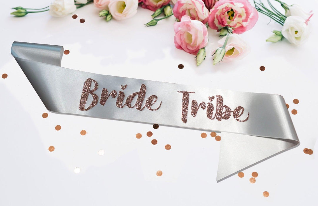Premium Bride Tribe Satin Married Engagement Party Sash Hen Do White Rose Gold