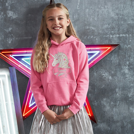 Childrens Personalised Holographic White Glitter Unicorn Hoodie - Pick your colour and add your name!