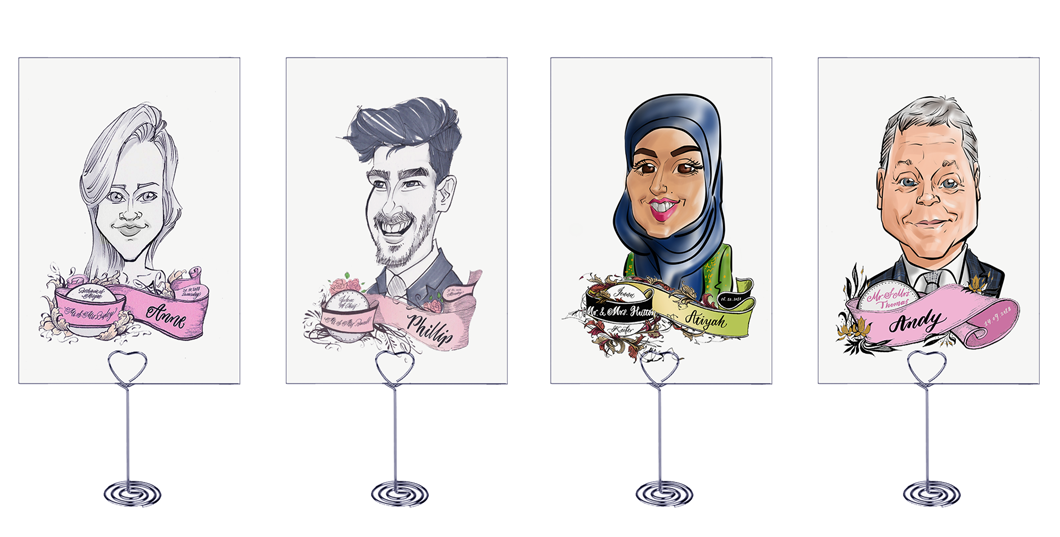 caricature place cards